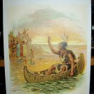 Hiawatha's Farewell-Indian Brave in Canoe-Antique Chromolithograph Print
