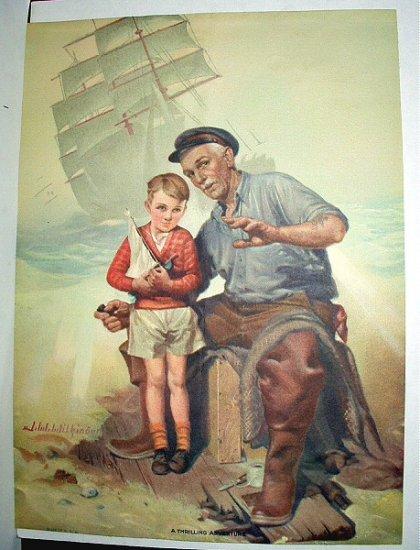 Old Man,Little Boy Telling Seaside Tales Vintage Lithograph Print-aRTIST: J.W.WILKINSON