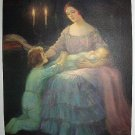 Eventide-Gorgeous Vntg Lithograph Print-Mother in candlelight,Holding Baby
