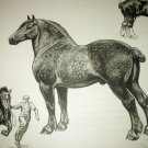 Percheron and Clydesdale Horses-Edwin Megargee Original Vintage Lithograph Print