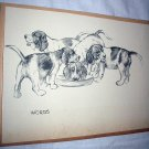 Four Beagle Puppies Sharing Meal-Vintage Lithograph Print