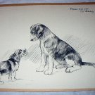 Little Dog and Big Dog Together-Vintage Lithograph Print-Are You My Daddy