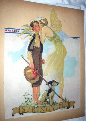 1933 Vntg Magazine Cover Art Illustration-Springtime-Fairy,Boy,Dog-Norman Rockwell