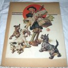 1926 Vntg Magazine Cover Artwork-Leyendecker-Little Boy,Turkey,Hungry Dogs