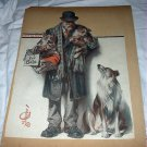 1922 Vntg Magazine Cover Artwork-Leyendecker-Man Selling Collie Puppies