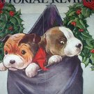 C.Twelvetrees-Vntg Magazine Cover Artwork-Two Sweet Boston Bulldogs In Stocking