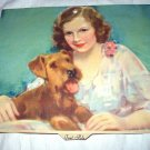 J. Knowles Hare-Vntg 1940 Calendar Lithograph-Girl with Airedale Dog