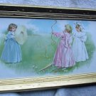 Maud Humphrey Original 1893 Antique Chromolithograph Half Yardlong Frame,Victorian Girls Playing