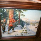 Philip Goodwin A Shot In Open Vntg Maple Framed Lithograph Print,Hunters,Moose