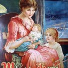 Mother with Children Antique Motto Chromolithograph Print,What Is Home Without A Mother