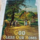 Woman Greeting Family Back Home Antique Motto God Bless Our Home Print