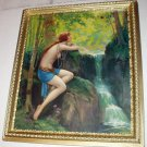 Woodland Gossip Artist Reylea Nude Nymph By Waterfalls Ornate Gold Gesso Wood Frame