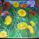 Antique Oil Painting Dahlias Flower Garden Stunning Bright Colors Large Size No Frame