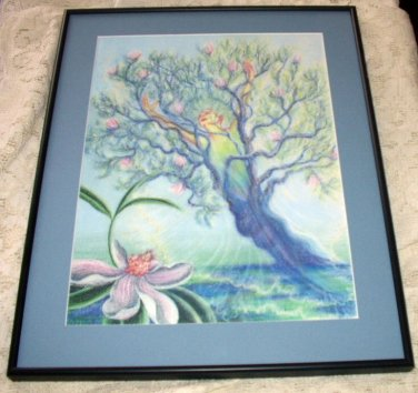 Magnolia Tree Pastel Chalk & Acrylic Emerging Drawing 1991 LmtdEd Mary Willowmoon Artist Dryad
