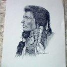 Native American Indian Portrait Vintage 1977 Lithograph Print Ken Nessen Western Artist