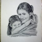 Native American Indian Mother Child Portrait Vintage 1977 Lithograph Print Ken Nessen Western Artist