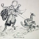 Bucking Bronco Horse Throws Off Rider Artist Ken Nessen Vintage Lithograph Print