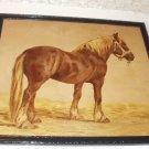 Percheron Horse Artist Marie Guise Original 1889 Antique Chromolithograph Black Wood Frame