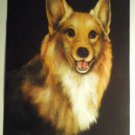 Welsh Corgi Dog Pastel Portrait Original Artist Signed Vintage Art Print Carved Wood Half Yard Long