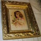 Victorian Little Girl Holding Clover Flower Flying Bee Maud Humphrey Original 1890 Antique