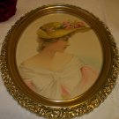Victorian Lady with Fancy Flower Hat Portrait Pose Original 1900 Antique Print Ornate Oval Frame