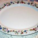 Limoges France Large Oval Serving Platter China Plate 15-5/8 inch Floral Pattern Vintage