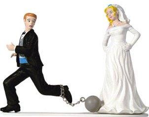 Unique and Fun Ball & Chain Bride & Groom Wedding Cake Topper  Top