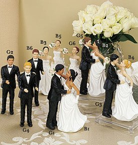 Choose your own Bride & Groom Wedding Cake Topper  Top       Every Race, Even a Bald Groom