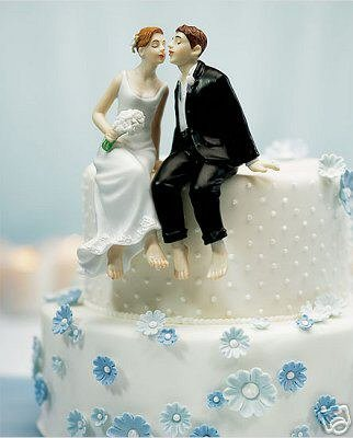 Sitting Barefoot Bride & Groom Wedding Cake Topper  Top Ornament