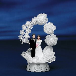 Elegant White Floral Bride & Groom Wedding Cake Topper Ornament