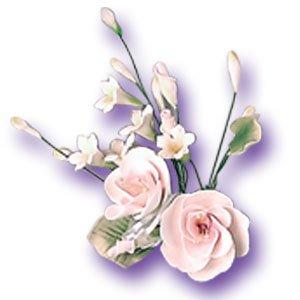 "9 x White Rose Sugar Gum Paste Flower Wedding Cake Display Toppers 4"" x 6"""