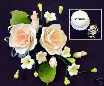 "9 x Peach Rose Sugar Gum Paste Flower Wedding Cake Display Toppers 4"" x 6"""