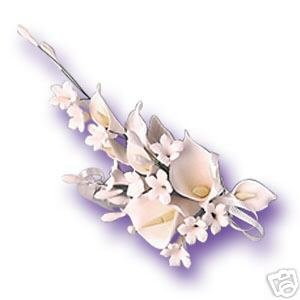 6 x White Calla Lily Sugar Gum Paste Flower Wedding Cake Display Toppers