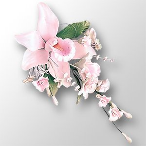 3 x DELUXE Pink Orchid Sugar Gum Paste Flower Wedding Cake Display Toppers