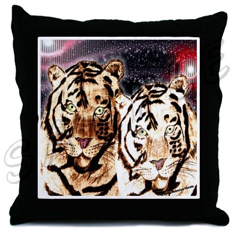 New Throw Pillow with Tiger Art