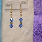 Gold Plated Sapphire Blue Swarovski Crystal Dangle Earrings