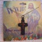 Black Copper Cross Pendant Choker Necklace WWJD Christian Religious