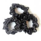 3 Braided Black Sparkle Scrunchies Pony Tail Holder Hair Twister
