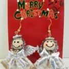 Silver Gold Tone White Angel Dangle Earrings Christmas Holiday