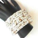 White Seed Bead Wire Wrap Cuff Bracelet
