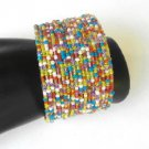 Multi Color Gold Tone Seed Bead Wire Wrap Cuff Bracelet