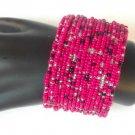 Hot Pink Black Silver Tone Seed Bead Wire Wrap Cuff Bracelet