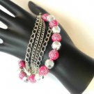 Pink Silver Tone Faceted  Bead Bracelet Polka Dots Chains