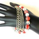 Red Silver Tone Faceted  Bead Bracelet Polka Dots Chains