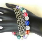 Multi Color Silver Tone Faceted  Bead Bracelet Polka Dots Chains