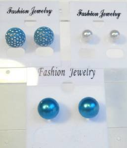 Lot 3 Blue White Stud Pearl Tone Earrings