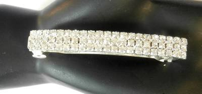 Clear Rhinestone Studded Silver Tone Hair Clip Barrette Gorgeous!
