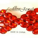 Large Oval Red Rhinestone Studded Hair Bow Alligator Clip Barrette
