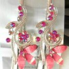 Pink Acrylic Rhinestone Salon Alligator Hair Clip Barrette Silver Tone Set 2