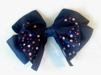 Blue Hair Bow Pink Polka Dots Alligator Clip Barrette